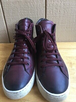 c918553a9fb BRUNO MAGLI Wilson Hi Top Leather Sneakers Bordo Maroon Men s SZ 11 M  Pre-Owned