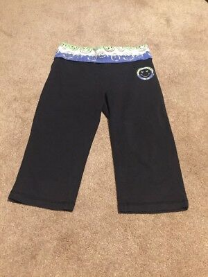 Justice 8 Girls Black Capri Leggings Tie Dye Smiley Face Foldable Waist