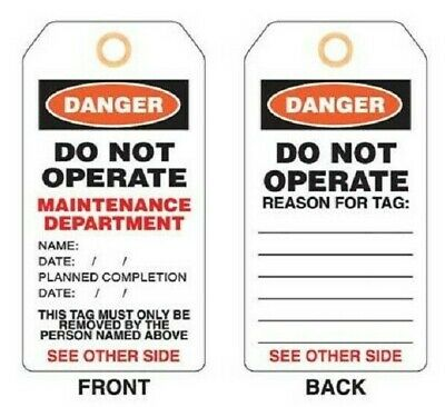 Promark PLASTIC LOCKOUT TAG Tie On, Imprint 'Maintenance Department' *Aust Brand
