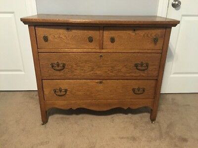 Antique 1890's Refinished Oak 4 Drawer Dresser Vanity Bathroom Remodel
