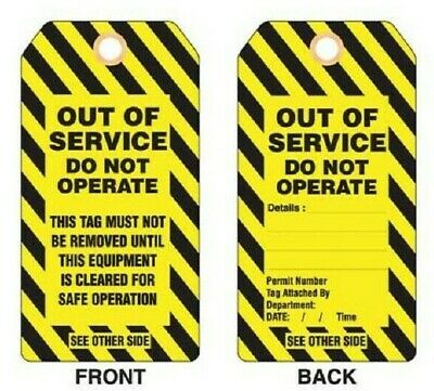 Promark PLASTIC LOCKOUT TAG Tie On, Imprint 'Out Of Service', Yellow *Aust Brand