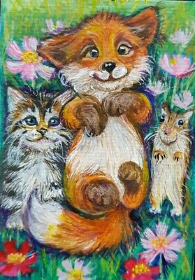 NEW Original ACEO Acrylic Painting Art Collect Card Cat Fox Floral Cute Lovely