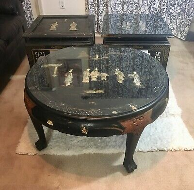 Chinese Hand Carved Mother of Pearl Inlay Black Lacquer Coffee & Two Side Tables