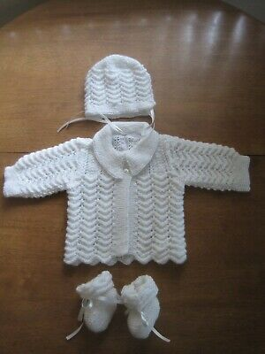 Hand knitted baby set, Cardigan,Bonnet and Bootees NB - 3 months (WHITE)