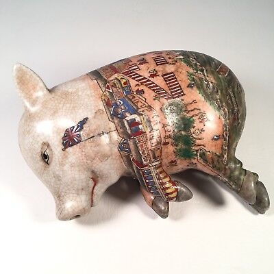 Vintage Hand Painted Porcelain Sleeping Pig Statue Chinese Figurine Lucky Pig
