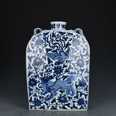 "15"" China old Porcelain Yuan Dynasty blue white kylin Phoenix flat vase jar pot"