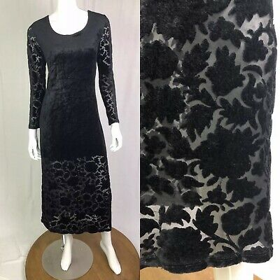 64c8eb8a0dd Carole Little Womens 4 Black Velvet Burnout Stretchy Midi Sheath Vintage  Dress