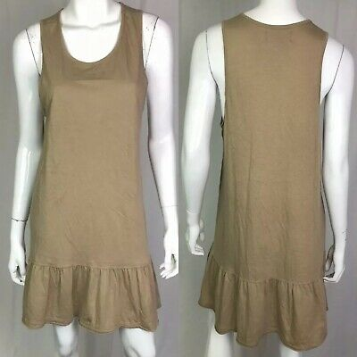 a67f372765 $98 Free People FP Beach Women's Medium Tan Knit Ruffle Tank Flare Shirt  Dress M