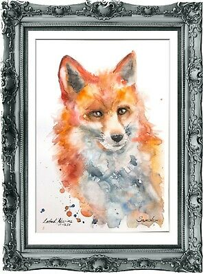 original painting fox watercolor 189LM originale art A4