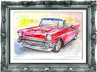 original drawing car Chevrolet Bel Air 1957 255UV art watercolor A3