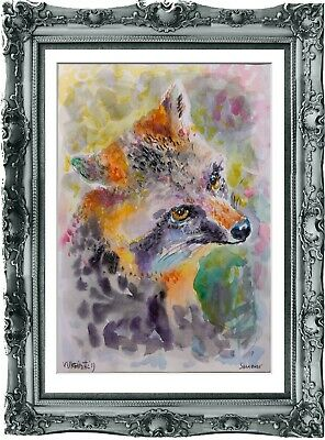 original painting raccoon watercolor 266UV peinture originale art A3