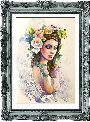 original painting modern woman 123HI watercolor peinture femme nue A3