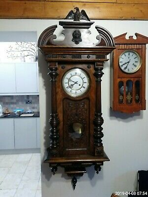 Antique 19Th Century Carved Vienna Regulator Wall Clock