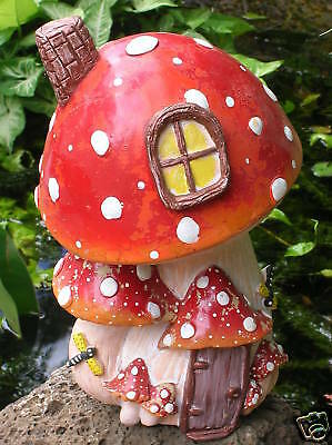 Mushroom toadstool house fairy garden ornament cement plaster moulds molds