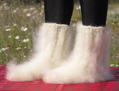 MOHAIR Hand knitted CREAM unisex socks handcrafted soft leg warmers Fuzzy Fluffy