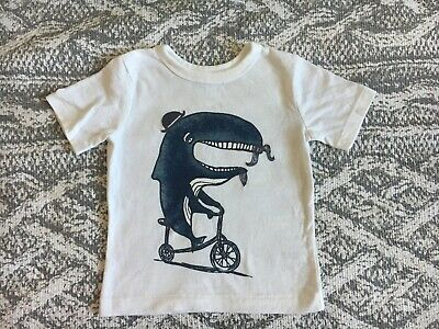 Baby Gap Boys White T-Shirt Whale Bicycle Size 18-24 Months New Without Tags