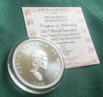 Slave Queen BU #1 - 1 oz 2017 ROYAL INVADER B.U. in Airtite + COA Silver Shield