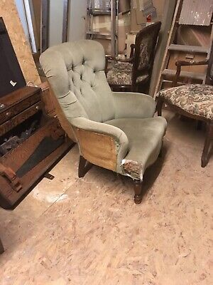 VINTAGE  ARMCHAIR FOR RESTORATION-Victorian Style-Sprung Seat- NEW LOW PRICE !!!