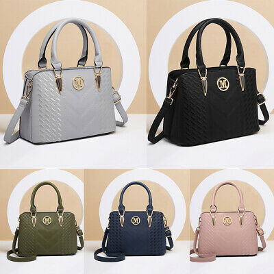 Women Designer PU Leather Briefcase Shoulder Bag Handbag Tote Work Front Pocket