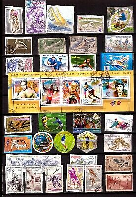ZY698 FRANCE  35 timbres oblit : sport,rugby,athlétisme,football,basket,cyclisme