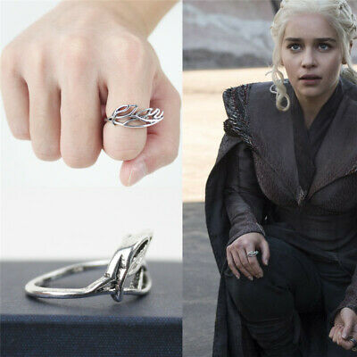Game of Thrones Ring Daenerys Targaryen White Silver Plated Vintage Female Rings