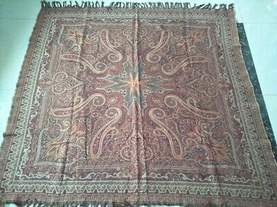 """Antique French Paisley Kashmir square piano Shawl Wool size58""""x56"""" table cloth"""