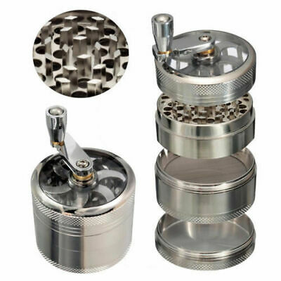 4-Layers Zinc Alloy Silvery Tobacco Herb Grinder Metal Hand Muller Smoke Crusher