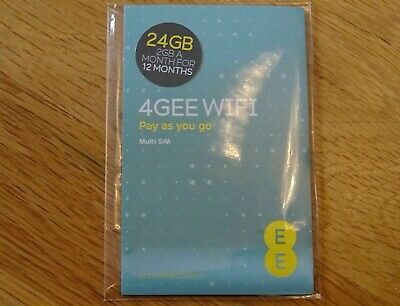 EE PAYG 24gb Data SIM Preloaded With 24gb of Data for 12 Months 2GB / month New