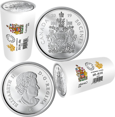 2019 Special Wrap Roll of 25 50-cent Coins Sealed Canada Coat of Arms