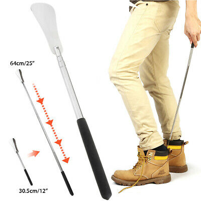 """AU Extra Long Handle Shoe Horn Stainless Steel 25"""" Handled Metal Shoehorn Horns"""