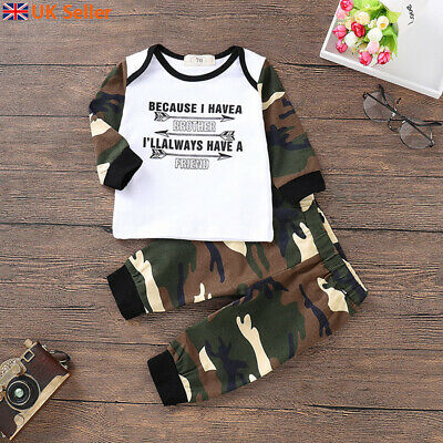 UK Newborn Baby Boy Camo Tops Pant Trouser Toddler Casual Outfit Set Kid Clothes