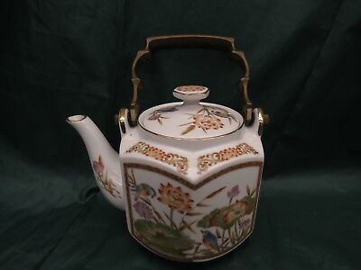 Vintage Japanese tea pot with strong brass handle