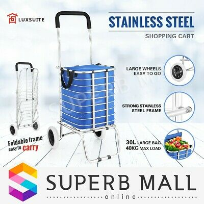 Shopping Trolley Cart Bag Foldable Stainless Steel Market Grocery Luggage Basket