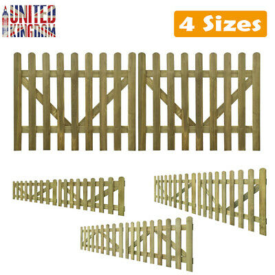 2X Picket Fence Panel Gate Barrier Palisade Garden Wall Border Wooden Multi Size