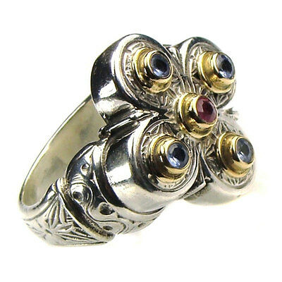 Gerochristo 2176 ~ Solid Gold, Sterling Silver & Gemstone Medieval Cocktail Ring