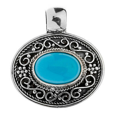 Savati ~ Sterling Silver with Turquoise Oval Byzantine Pendant