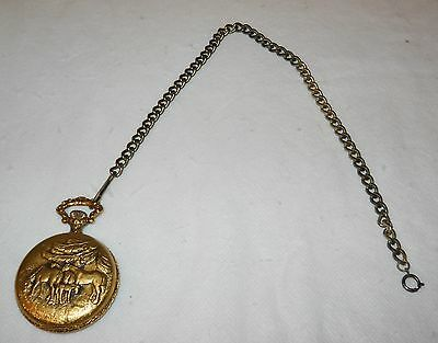 Cycle 17 Jeweles Pocketwatch, For Parts, Not Working, W/Chain Swiss, Nice!