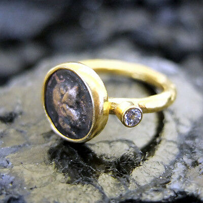 Handmade Hammered Roman Coin Ring With Topaz 22K Gold Over 925K Sterling Silver