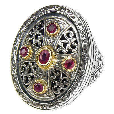 Gerochristo 2458 ~  Solid Gold, Silver & Rubies - Medieval Byzantine Cross Ring