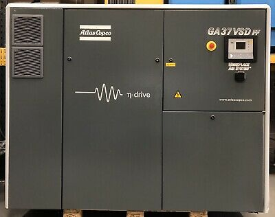 Atlas Copco GA37VSDFF Variable Speed Drive Rotary Screw Compressor With Dryer!