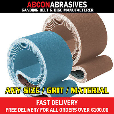 4 x Abrasive Sanding Belts 75x2000mm (P36-P500)  Manufactured in Ireland