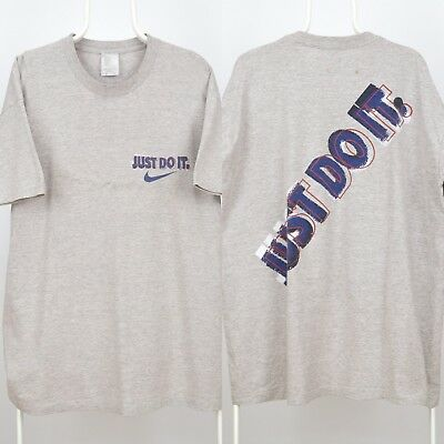 fbf1cc42c7153 VTG NIKE MENS Just Do It Spell Out Gray Tag T Shirt Large Grey Og ...