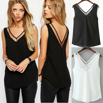 Women Summer Tanks Tops Vest Blouse Cami Camisole Ladies V Neck Plus Size 6-20