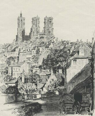 LAON - Ansicht - Kathedrale - Lithographie 1917