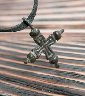Authentic Medieval Bronze Cross Necklace ca. 12th-13th Century AD, Crusader Era