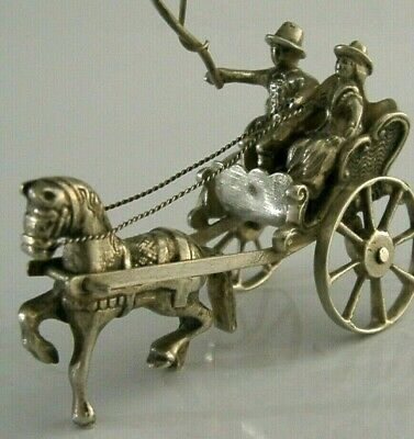 DUTCH SOLID SILVER HORSE & CARRIAGE GIG MINIATURE FIGURE c1950s SUPERB