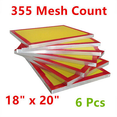 "6 Pcs 18"" x 20""Aluminum Screen Printing Screens with 355 Yellow Mesh Count"