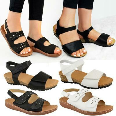 Womens Ladies Flat Low Wedge Comfort Sandals Adjustable Straps Wide Fit Open Toe
