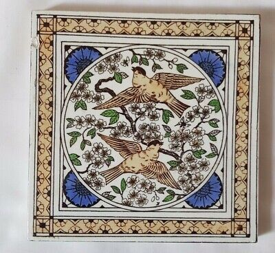 Stunning Minton 19Th Century Love Bird Design Tile  .6 Inch Square