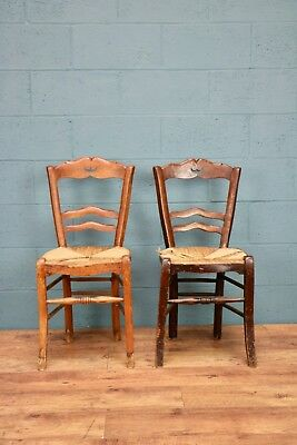 Pair of Rush Seated Kitchen Chairs, Arts and Crafts (100340)